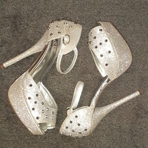 Silver Glitter and stud heels